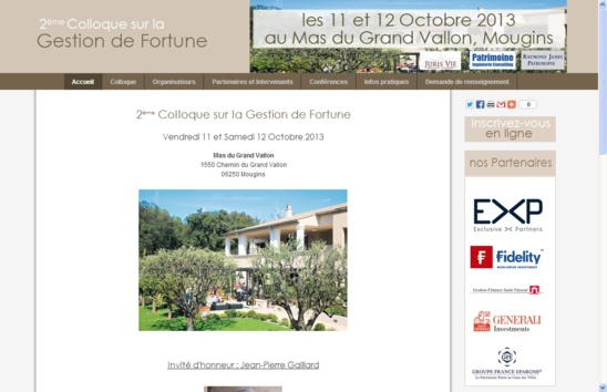 Site internet du Colloque sur la Gestion de Fortune